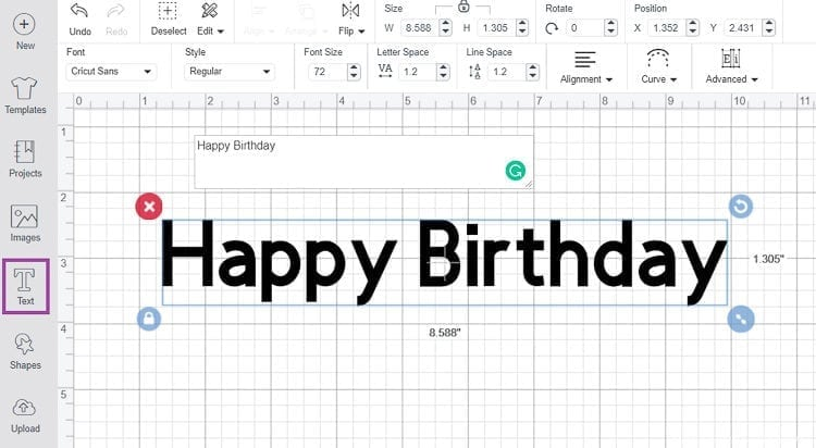Write Wording in Cricut Design Space using the Text Tool