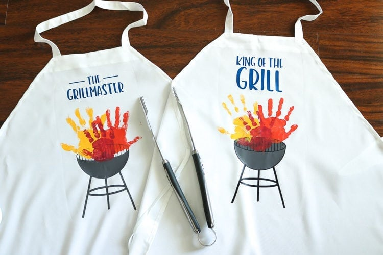 White Apron with Grill SVG File and children's handprints as Flames