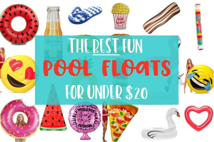 A large selection of fun pool floats perfect for summer pool parties