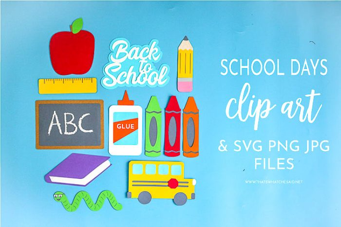 Back to School Cut Files create with colored cardstock