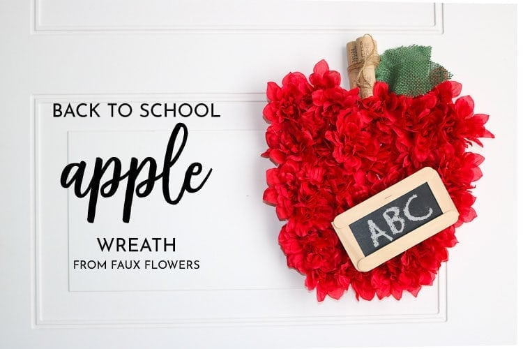 Back to School Wreath - Apple wreath made with faux flowers and small craft chalkboard