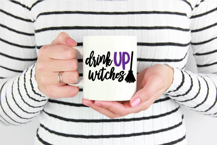 Coffee Mug with Drink UP Witches SVG decal