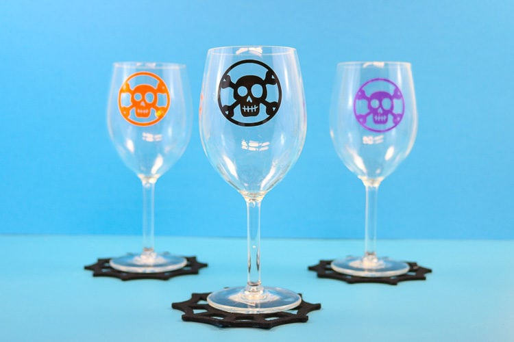 Three Wine Glasses on Cobweb Coasters with Window Cling Decals in different colors