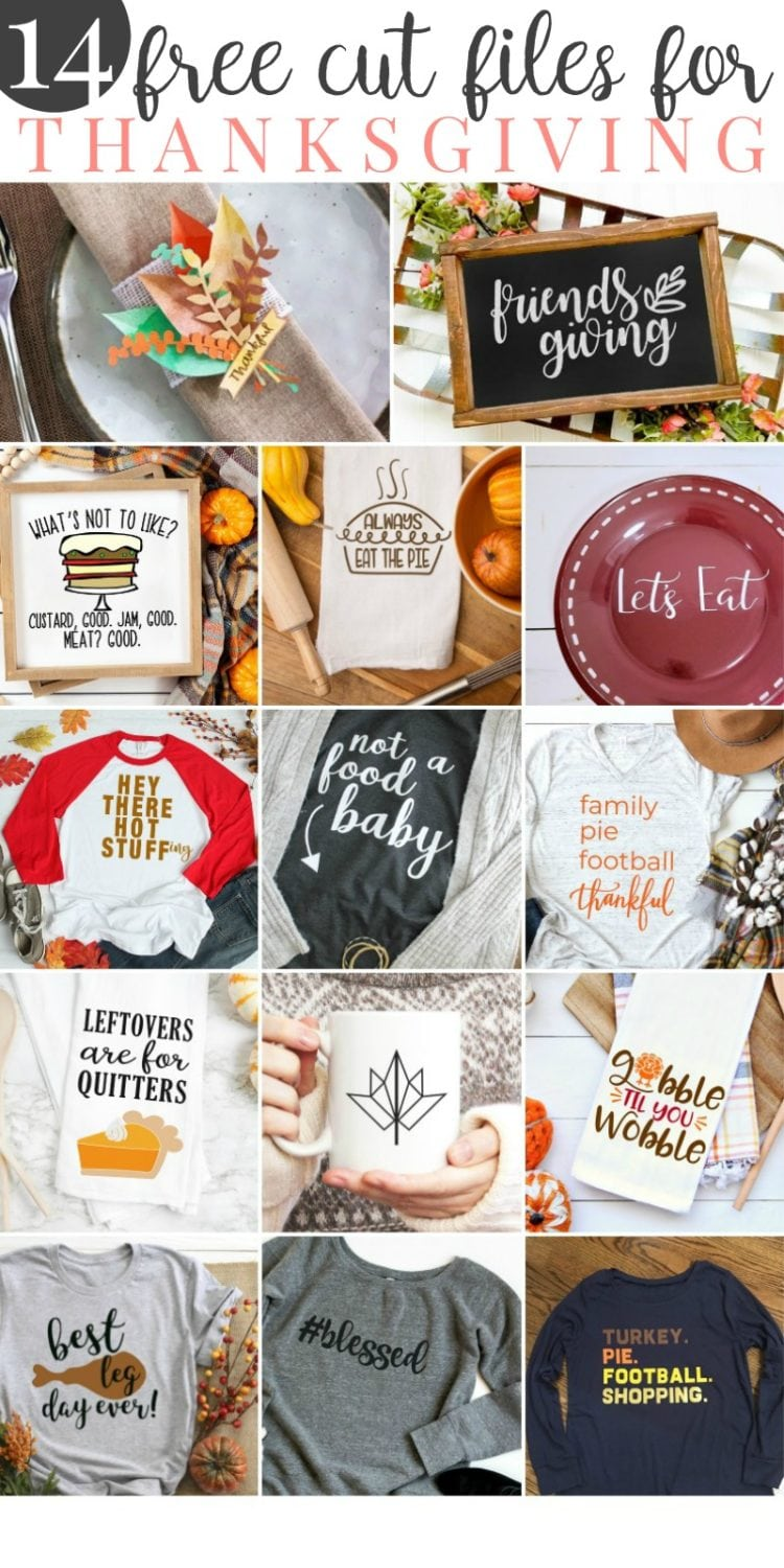 collage of 14 free svg files for thanksgiving