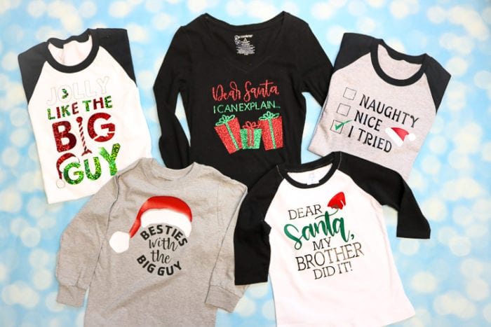 A collection of 5 Christmas Designs from Cricut Design Space perfect for Family Christmas Pajamas