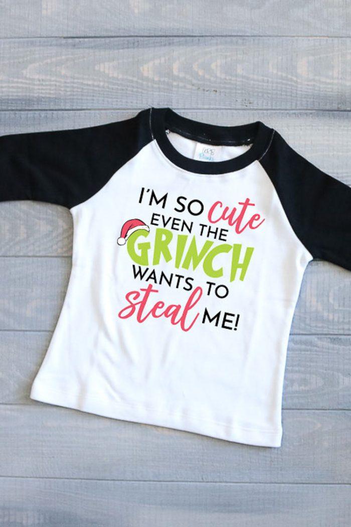 Children's Raglan T made into a Grinch Shirt