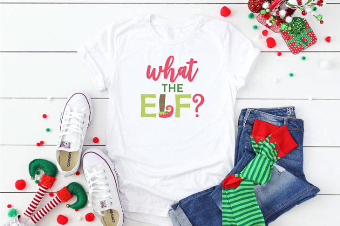 White T-shirt with What the Elf? SVG design in iron on