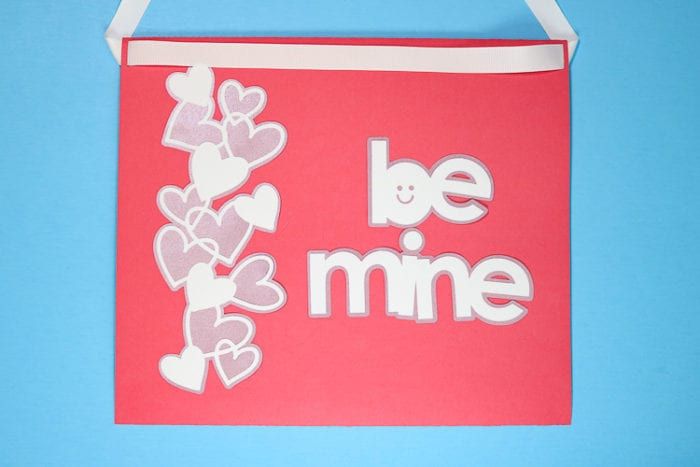 Back of Pink Koala Valentine Box that Says Be Mine with layered hearts