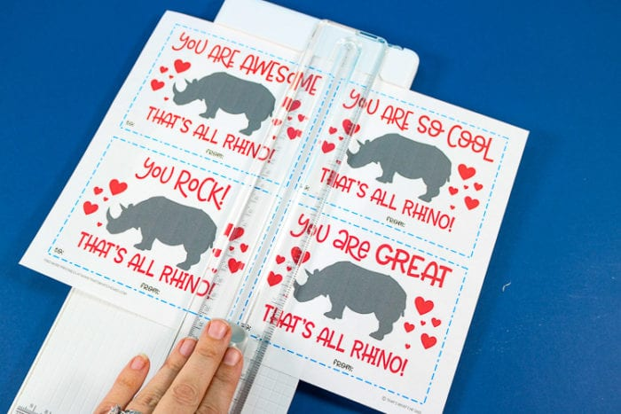 Cutting Rhino Valentine's Day Cards using a paper cutter