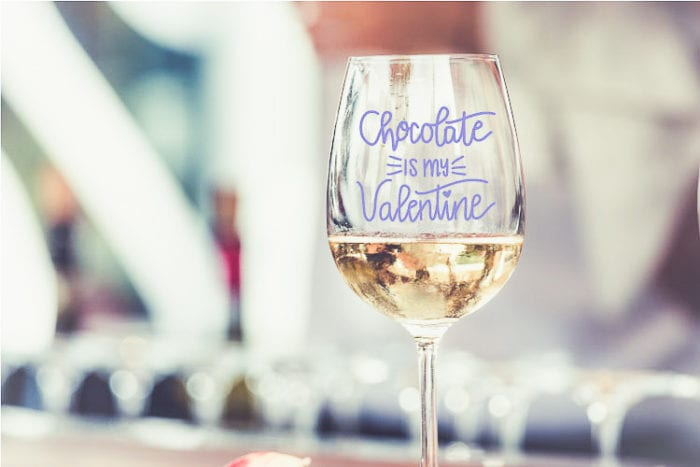 Wine Glass with Vinyl Valentine Design