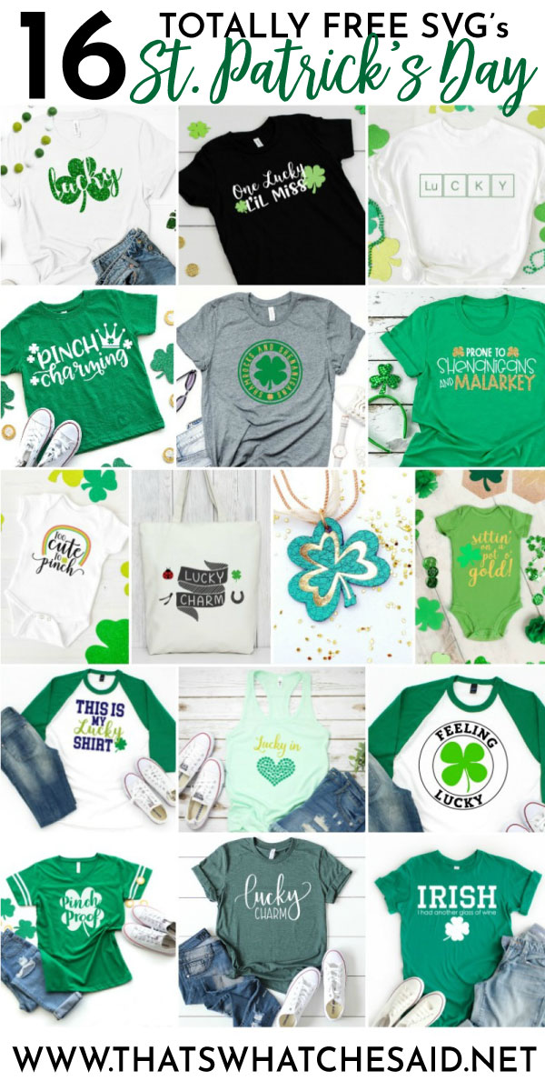 Collage of 16 free St. Patrick's day SVG files