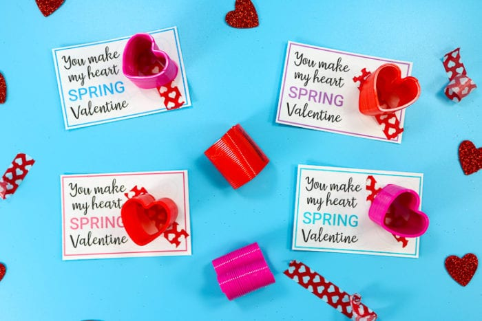 Four of the 6 Valentine Cards staged with Heart Washi Tap and Springs