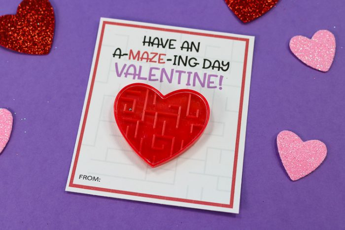 Printable Valentine's day Card with Maze toy attached