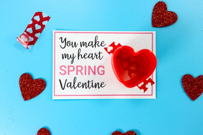Printable Valentine Card with Slinky Attached