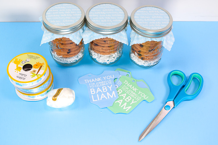 Jars, tags and ribbon to attach tags