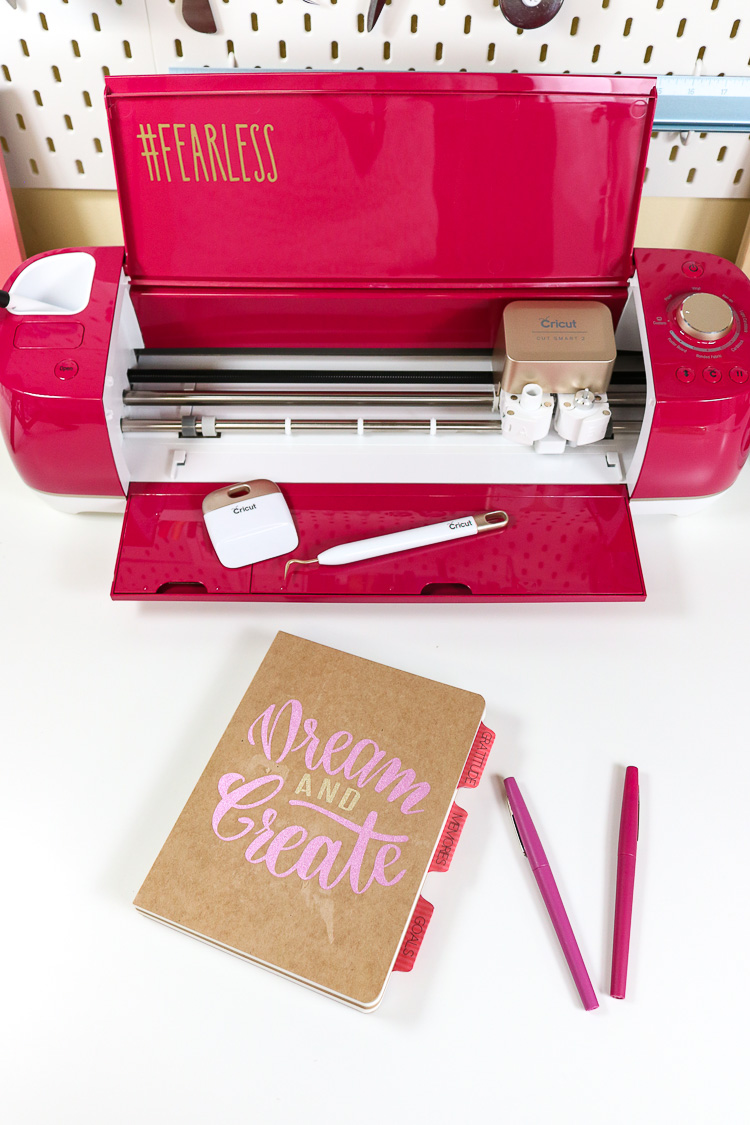 Cricut Explore Air 2 Wild Rose Edition with completed DIY Journal