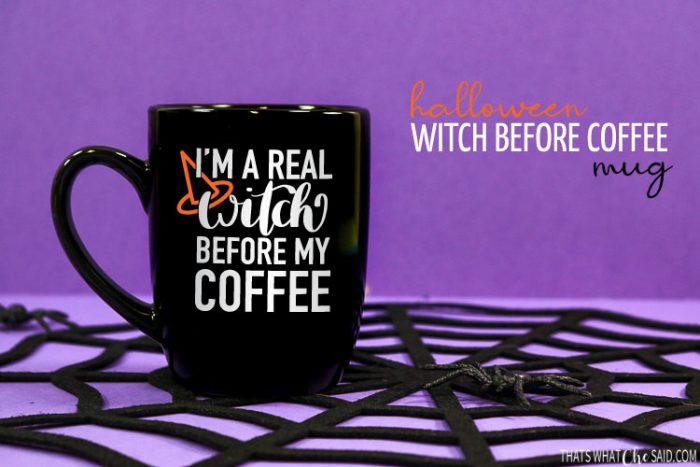 Black Halloween coffee mug with Witch before Coffee saying on front