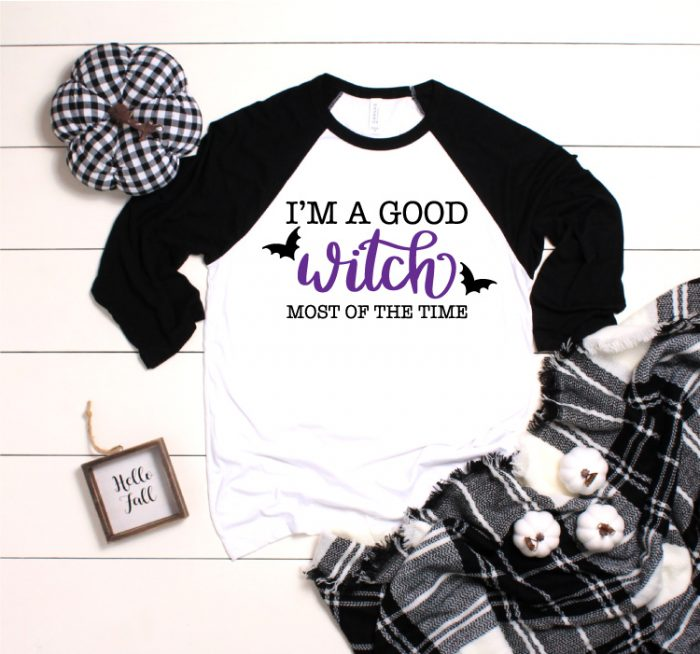 """White and Black Raglan T-Shirt with """"I'm A Good Witch Most of the Time"""" Iron on Design"""