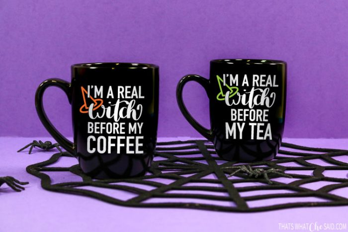 """2 Black Coffee mugs with """"I'm a real witch before my coffee or tea on them with vinyl"""