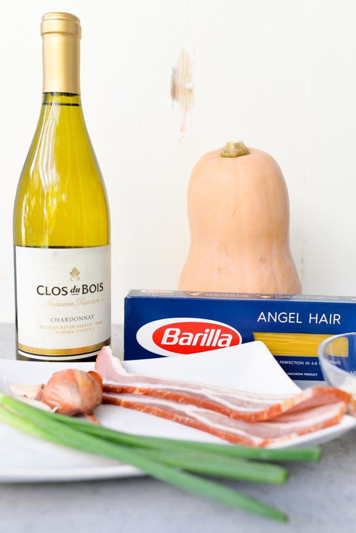 Ingredients for Butternut Squash Pasta dish: Butternut squash, pasta, bacon, shallots, green onions, butter and garlic