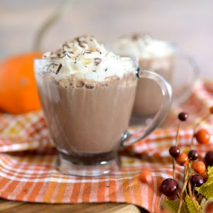 Maple Bourbon Hot Chocolate in clear glass mugs with whipped topping