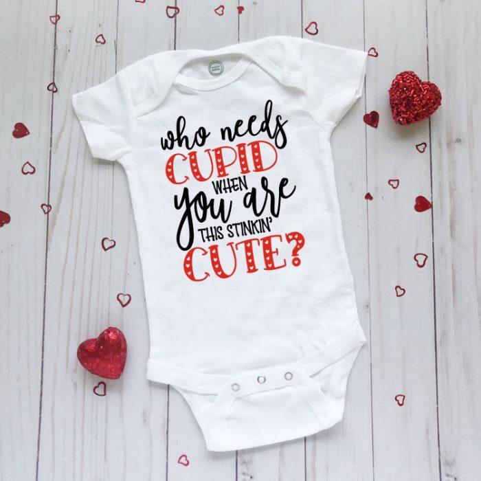 White Valentine Baby Bodysuit