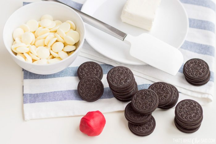 Candy Melts, cream cheese, oreoes and red fondant. Easy Valentine Truffle Ingredients