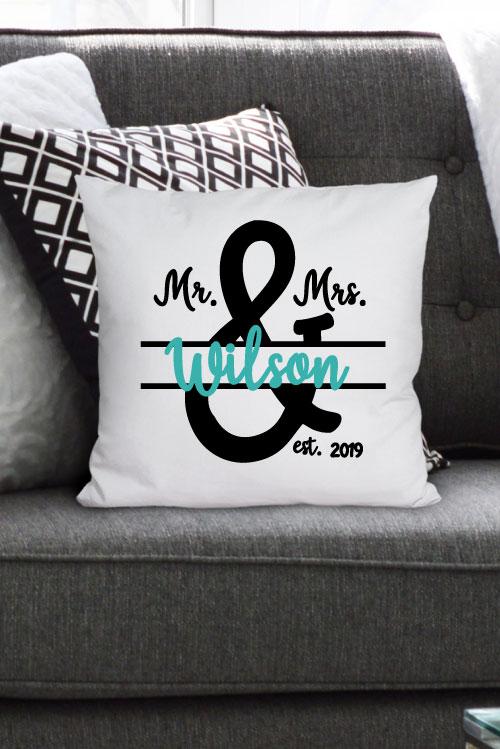 horizontal photo of two tone custom Mr & Mrs Pillow