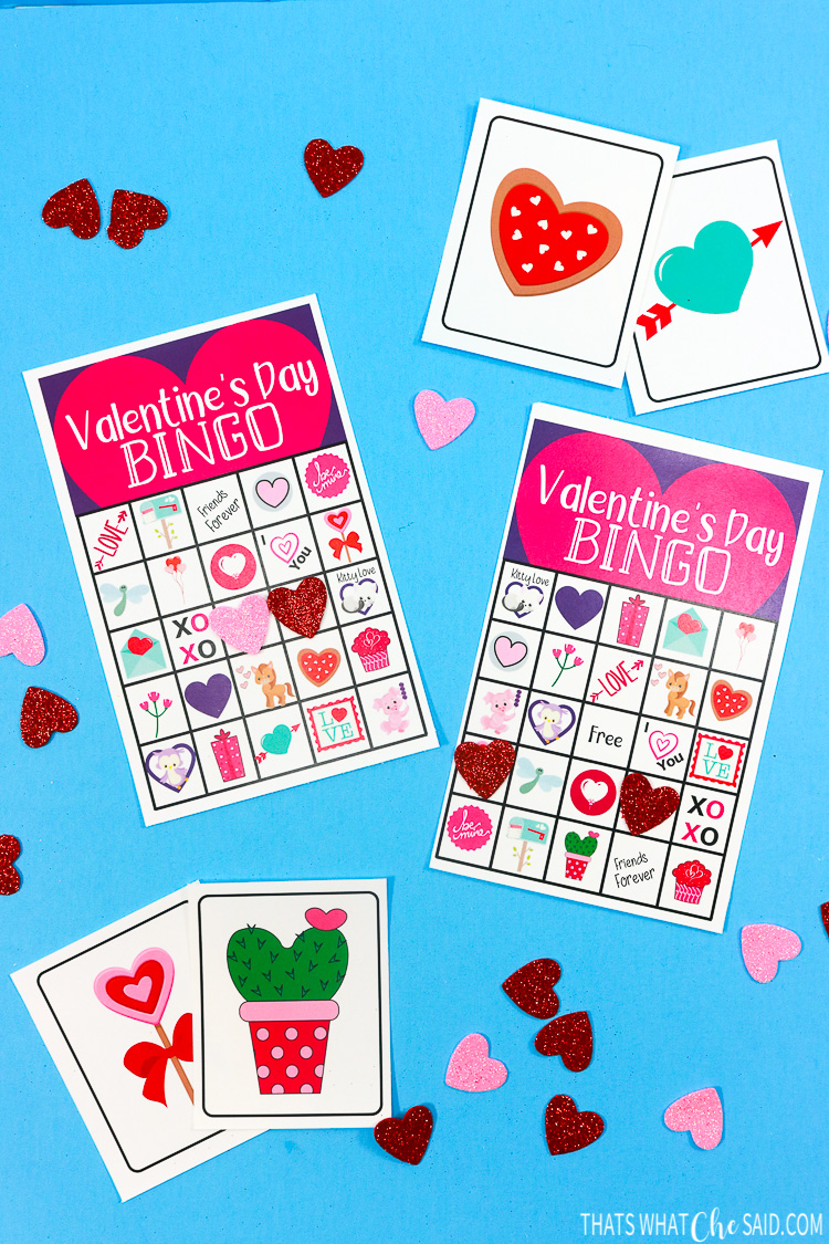 Printable Valentine Bingo Cards with a few calling cards and foam heart markers