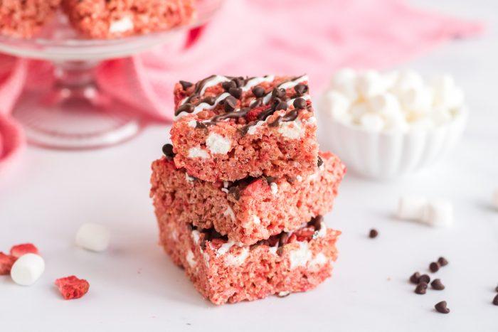 Horizontal of Chocolate Covered Strawberry Rice Krispie Treats