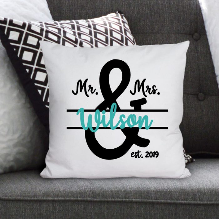 Couch with Personalized Throw Pillow using Mr & Mrs SVG