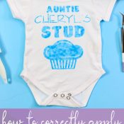 Finished baby bodysuit with design from an infusible ink transfer sheet. Pinnable image
