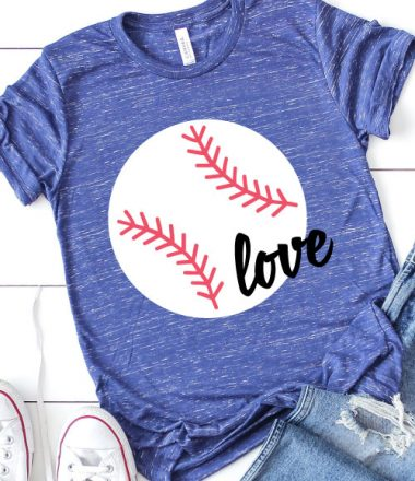 Blue Heather T-Shirt with Baseball design and the word love in iron on vinyl staged with white converse and ripped jeans in Vertical format