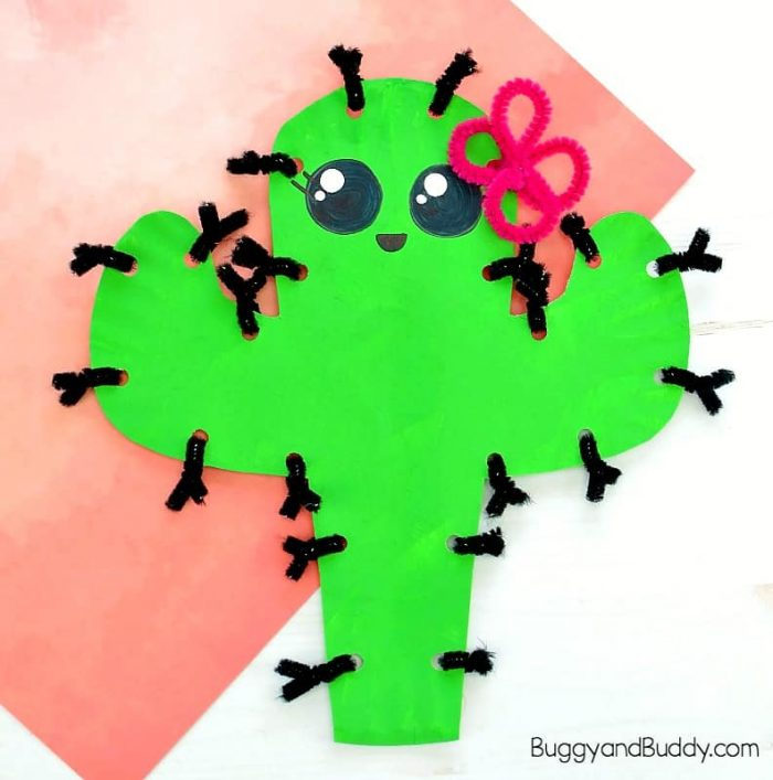 Cute cactus cut out with pipe cleaner thorns.