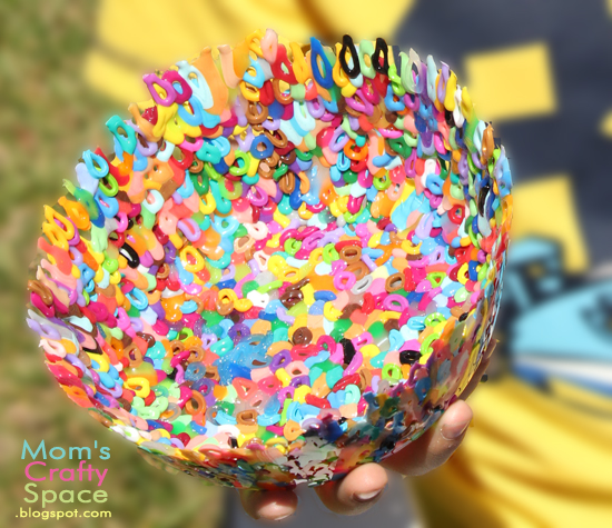 Perler beads melted in the shape of a bowl.