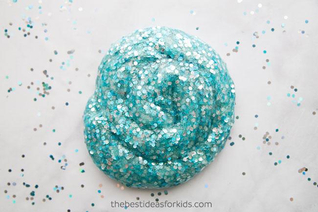 Silver and blue glitter mermaid slime.