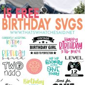 Birthday Boy/Girl T-shirts image on top and collage of the 15 free Birthday SVGs offered