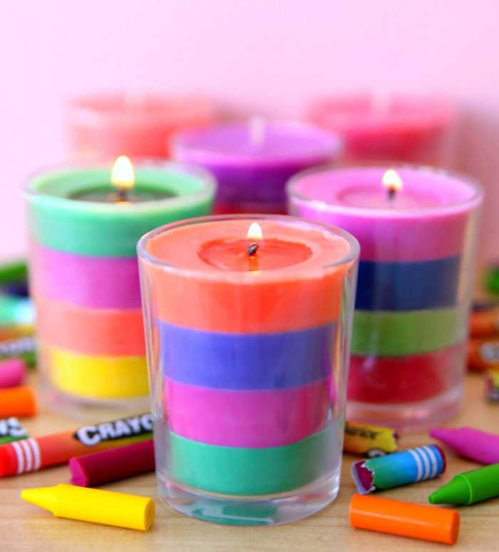 Votive Candles layered colors wax made from crayons