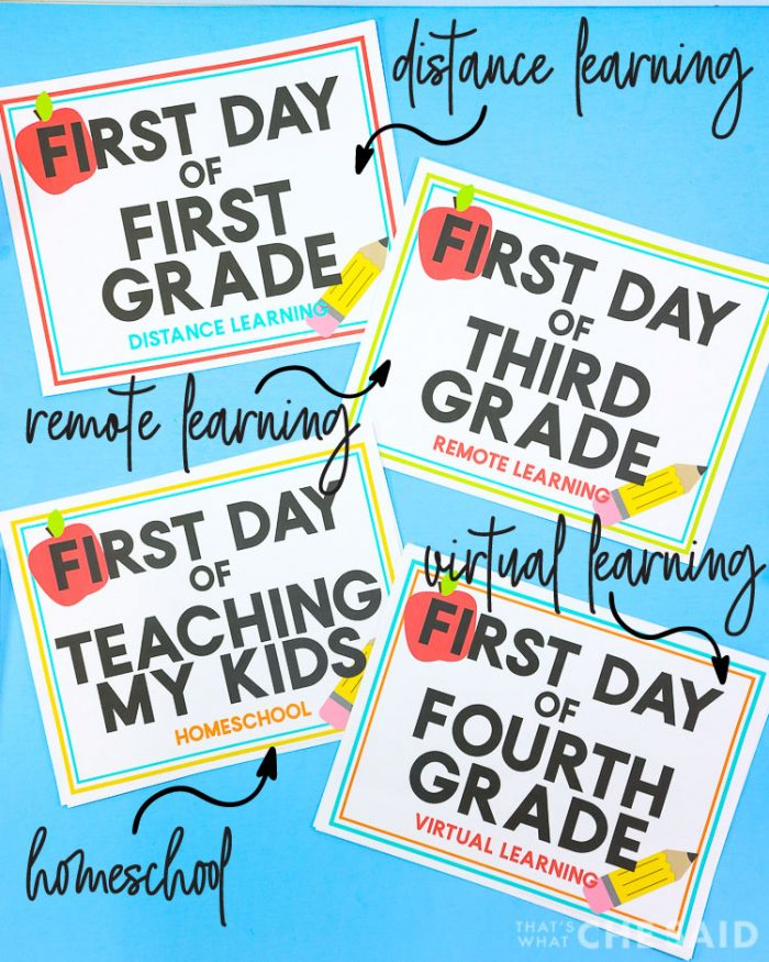 Homeschool, Virtual Learning, Distance Learning and remote learning first day printables