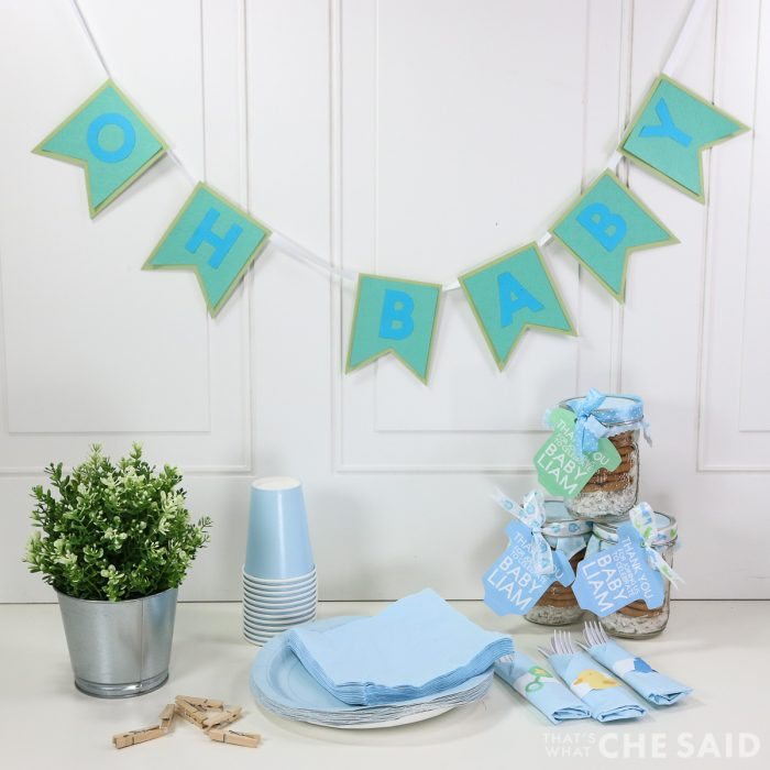 Oh Baby Banner with Other baby shower things