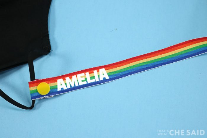 Close Up Personalized Face Mask Lanyard with Name in Iron-on