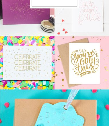 Collage of 7 free single line svg files to use with Cricut Pens or Foil System