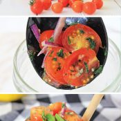 Collage of three images, ingredients, spooning tomato relish into jar, and finished recipe