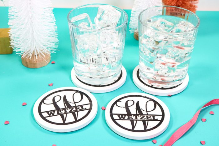 Bottle Brush Trees with Coasters and glasses of water - horizontal