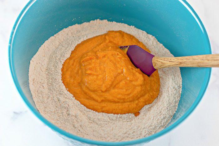 Adding wet ingredients into dry