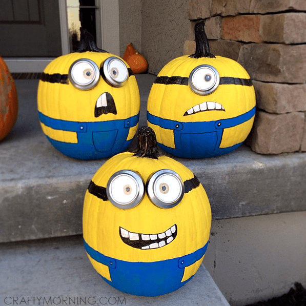 Pumpkins painted to resemble Minions