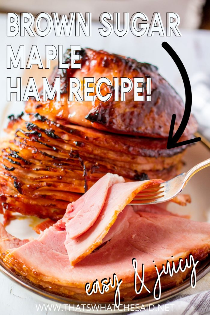 Close up of maple ham with pinterest labels