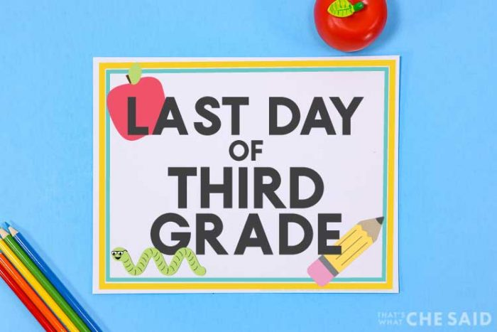 blue background with printable last day of school sign and apple and pencil props