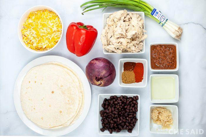 Ingredients for Sheet Pan Chicken Quesadillas