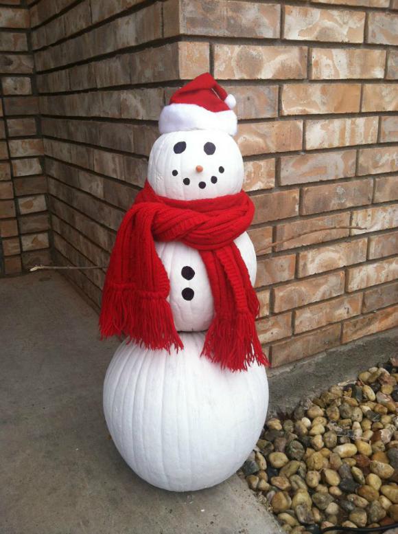 Pumpkin And Snowman Log Craft